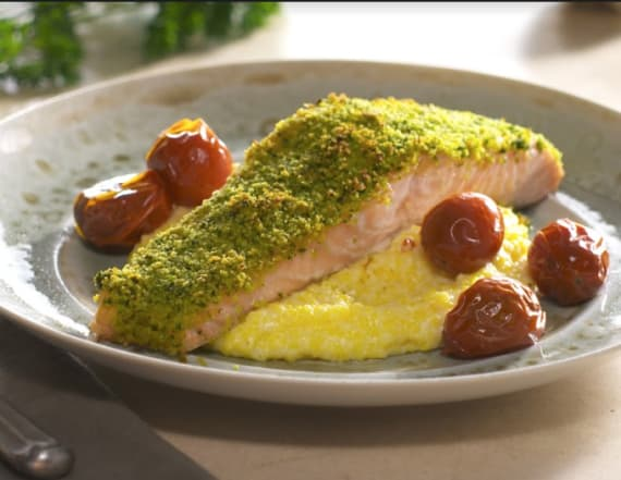 Herb crusted salmon with goat cheese polenta