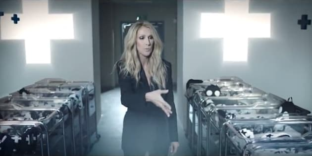 Céline Dion blows black glitter on newborns in a commercial for Célinununu.