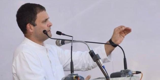 Rahul Gandhi addressing a rally in Chhattisgarh.