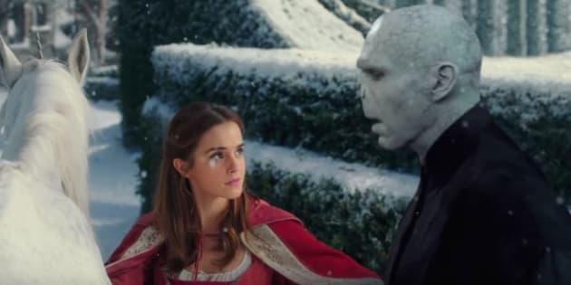 """Emma Watson et Voldemort dans la bande-annonce de """"La Belle et Lord Voldemort""""."""