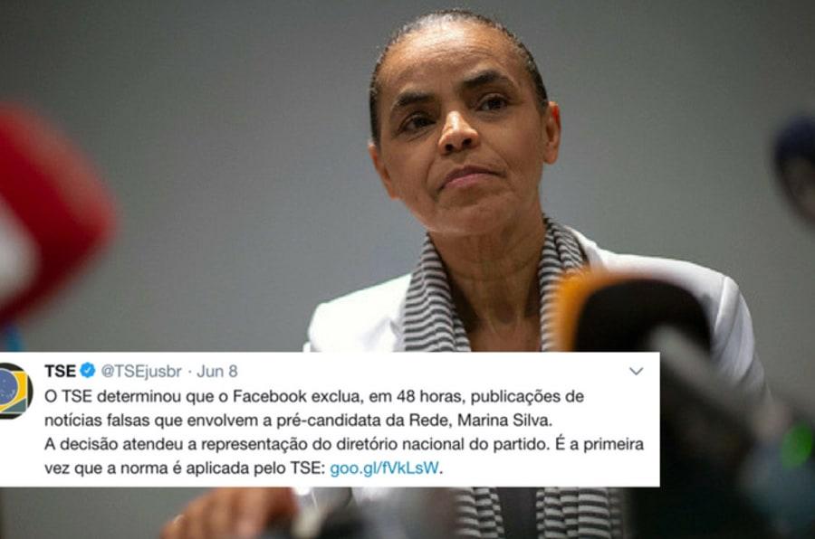 Marina Silva pediu, e TSE ordenou exclusão de conteúdo considerado fake news da internet.