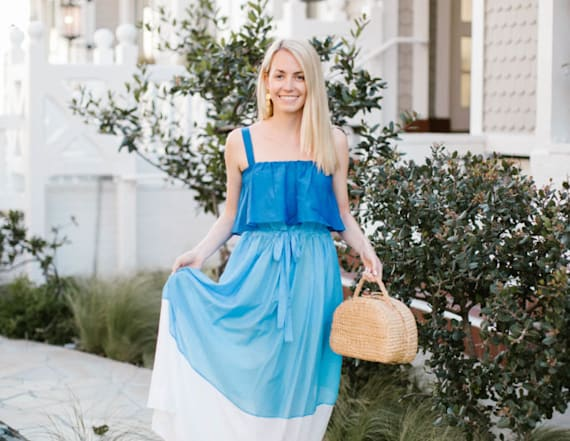 Street style tip of the day: Blue maxi dress