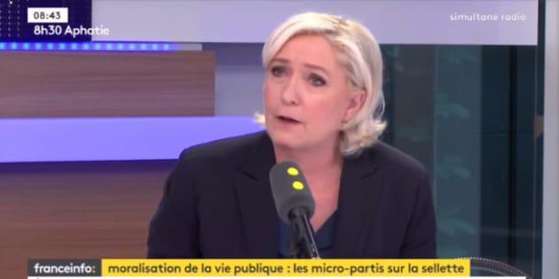 Marine Le Pen était l'invitée de France Info ce lundi 22 mai.