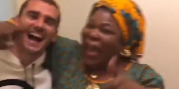 Antoine Griezmann et la maman de Paul Pogba