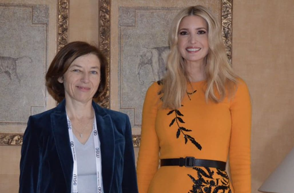 ea1042583233f Ivanka Trump attended the Munich Security Conference on Friday in an orange  dress that people are likening to a jail jumpsuit.