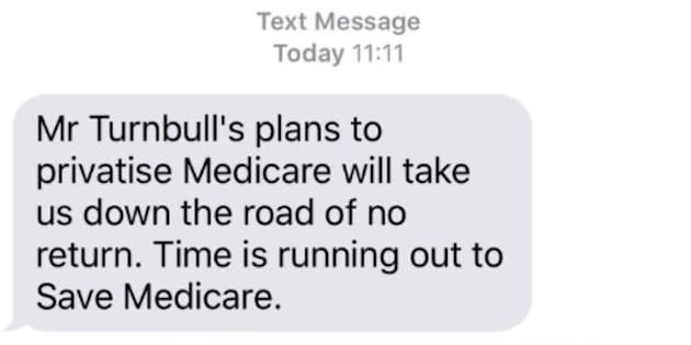 The text some Australians received on election day.
