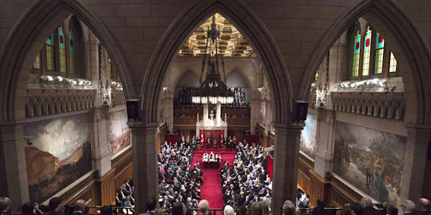 Former governor general David Johnston delivers the speech from the throne in the Senate Chamber on Parliament Hill on Dec. 4, 2015.