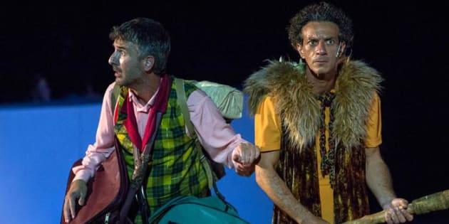 """Una foto di scena di """"Le Rane"""" di Aristofane, in scena al Teatro Greco di Siracusa fino al 9 luglio con Ficarra e Picone e la regia di Giorgio Barberio Corsetti, 30 giugno 2017. ANSA/UFFICIO STAMPA"""