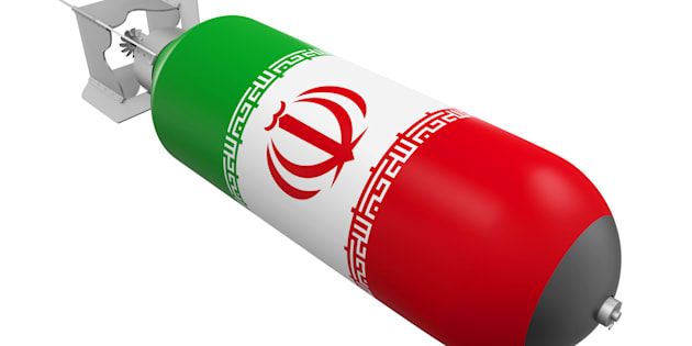 Atomic Bomb with Iranian Flag isolated on white background. 3D render