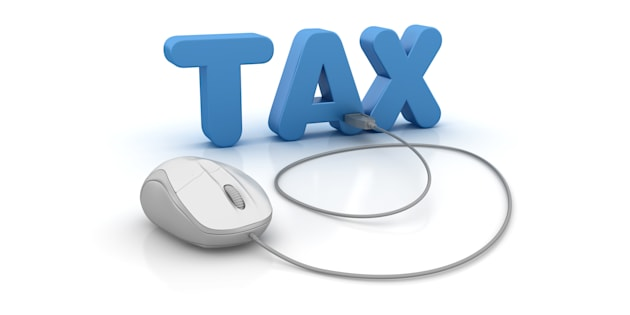 Tax 3D Word and Computer Mouse - White Background - 3D Rendering