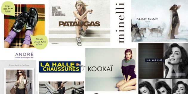 Les marques du groupe Vivarte: André, Kookaï, Chevignon, La Halle, Naf Naf, Pataugas, Minelli, Besson, Caroll...