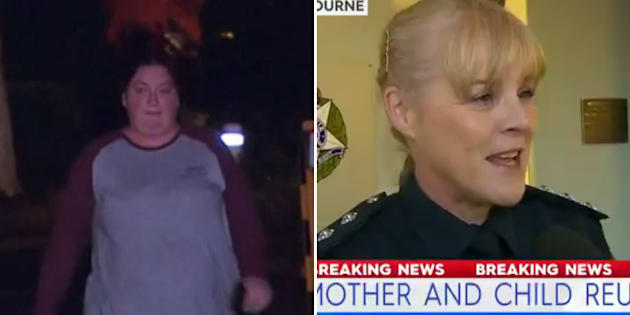 "The mother of the three-year-old (left) rushed to Melton Police Station to collect the young fugitive, who Inspector Kathryn Rudkins (right) said was in ""a good condition"" following his 2am wanderings."