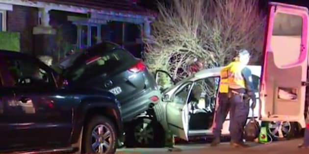 A woman was freed from her wrecked car on Sunday.