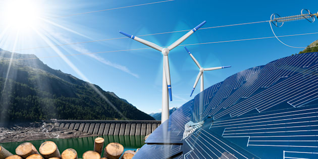 Renewable energy sources include wind (wind turbines), solar (solar panels), biomass (tree trunks) and hydropower (dam for hydroelectric power).