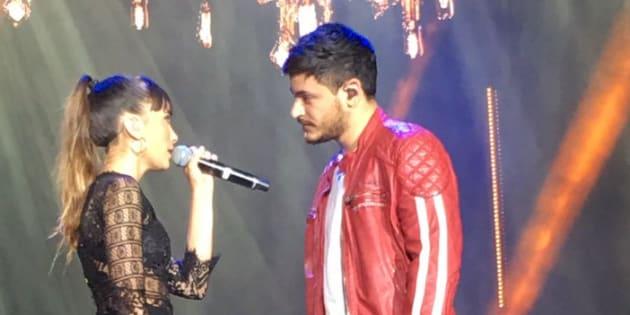 Aitana y Cepeda en el concierto de Operación Triunfo en el estadio Santiago Bernabéu de Madrid.