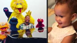 La fille de John Legend découvre une vidéo de son père avec les personnages de Sesame Street et c'est absolument