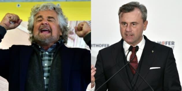 Beppe Grillo, leader du Mouvement cinq étoiles en Italie, et Norbert Hofer, candidat du FPÖ en Autriche.