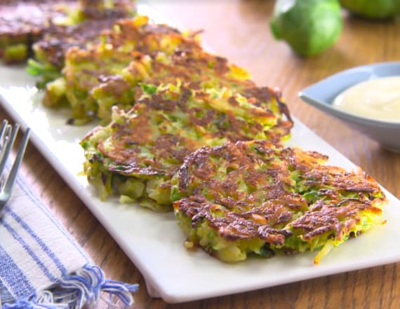 Brussels sprout latkes with maple mustard yogurt