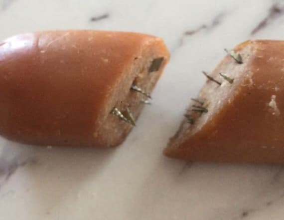 Dog owner finds hot dogs stuffed with razors in yard