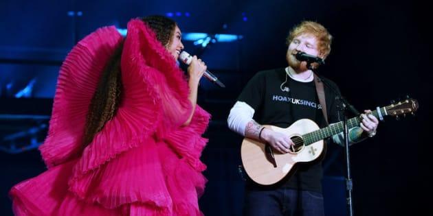 Beyoncé et Ed Sheeran sur la scène du Global Citizen Festival, le 2 décembre 2018 à Johannesburg en Afrique du Sud.