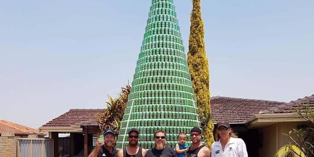 A WA man and his mates have built an Christmas tree out of beer cans.