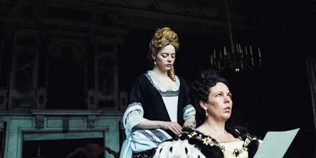 """Emma Stone and Olivia Colman in the film """"The Favourite"""""""