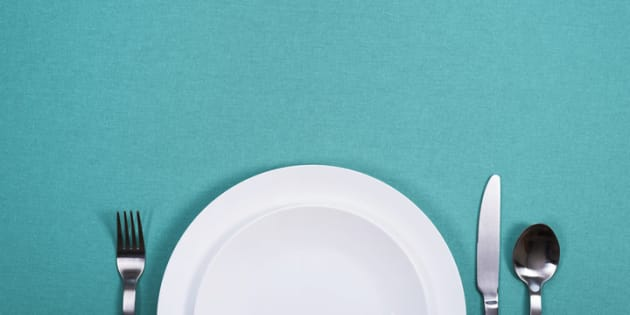 Dinner plate header with copy space