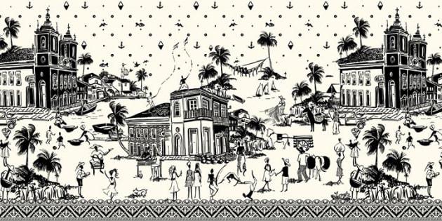 """De acordo com a marca, """"ilustração refere-se a uma cena cotidiana do período pós-colonial""""."""