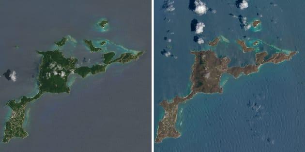 Vu depuis l'espace, l'avant-après Irma dans les Caraïbes est effarant