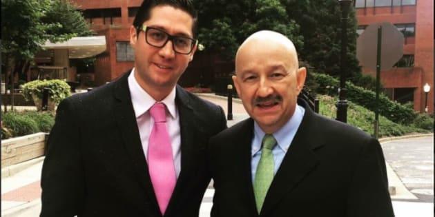 El expresidente Carlos Salinas con el Coordinador de Vinculación Empresarial del CEN del PRI en lal Universidad de Georgetown.