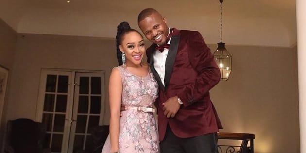 Thando Thabethe and her fiancé, Frans Mashao.