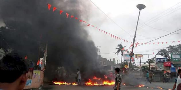 A scene after a communal tension broke out in Bhadrak, Odisha on Friday