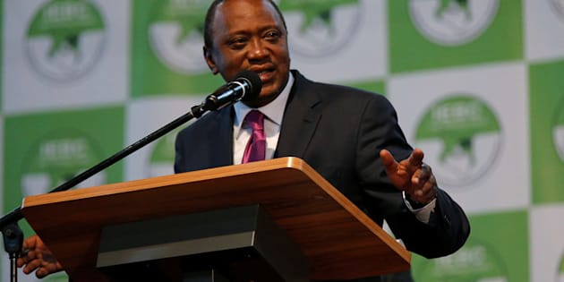 Incumbent President Uhuru Kenyatta speaks after he was announced winner of the presidential election at the IEBC National Tallying centre at the Bomas of Kenya, in Nairobi, Kenya August 11, 2017.