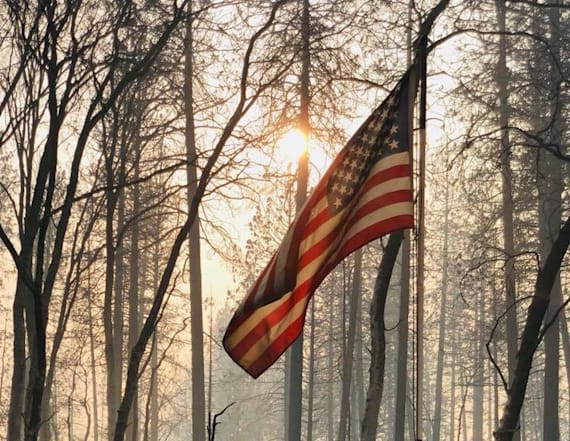 American flag is the only thing to survive wildfire