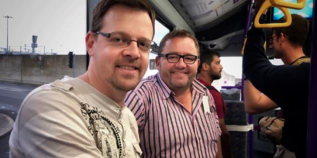 Happy campers... AfriForum's Ernst Roets and Kallie Kriel in transit to the U.S. earlier this week.