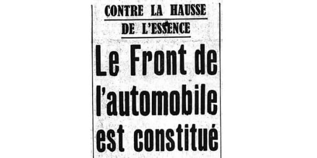 """En 1937, le quotidien """"L'Intransigeant"""" relate la formation d'un """"Front de l'automobile"""" contre l'augmentation du prix de l'essence."""