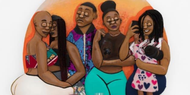 Dada Khanyisa's artwork: 'Okay so I'll leave the phone behind' 2018 Acrylic, mixed media and found objects on wood 95 x 118 x 20cm