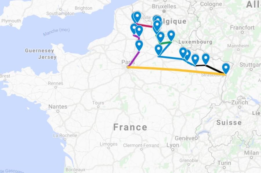 """La carte des pérégrinations de Macron pour son """"itinérance mémorielle"""""""