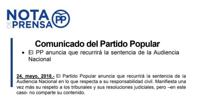 El comunicado del PP tras conocer la sentencia de la trama Gürtel.