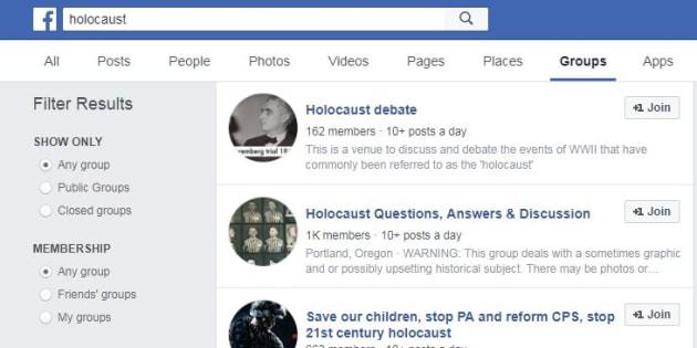Sur Facebook, des groupes négationnistes en bonne place dans le moteur de recherche (Image d'illustration).