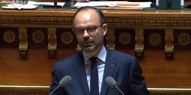 Édouard Philippe s'exprimant au Sénat le 6 décembre 2018.