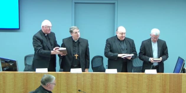 Melbourne Archbishop Denis Hart, Sydney Archbishop Anthony Fisher, Adelaide Archbishop Philip Wilson and Perth Archbishop Timothy Costelloe appearing before the Royal Commission in Sydney 23rd February 2017
