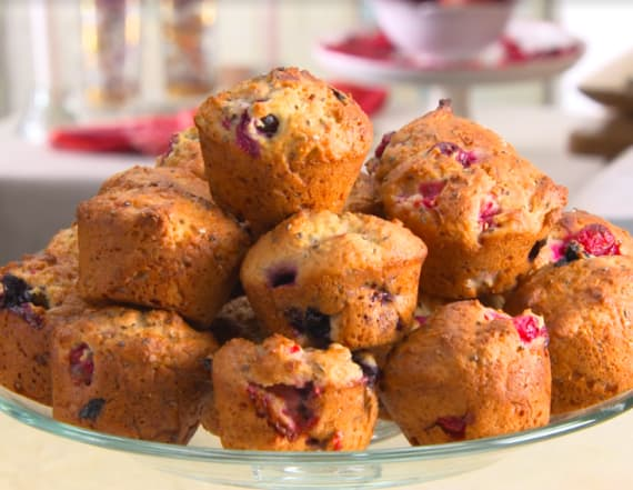 Healthy holidays triple berry chia seed muffins