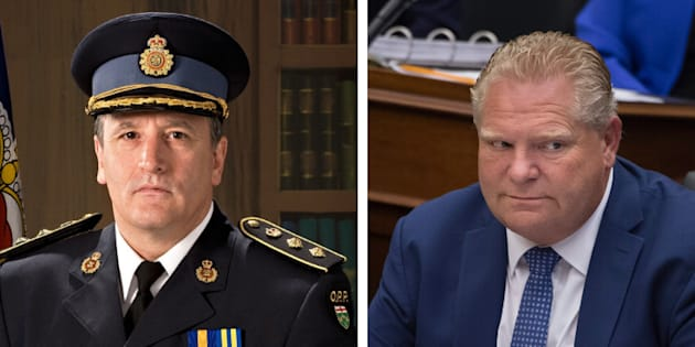 Former deputy commissioner of the Ontario Provincial Police Brad Blair says that his firing was payback for his legal fight against Premier Doug Ford's government. (OPP/CP)