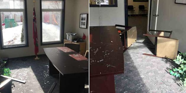 Ontario NDP MPP shared photos of her constituency office in Oshawa on Feb. 10 after it was damaged by a wild deer.