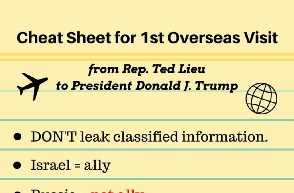 Democratic representative tweets 'cheat sheet' for Trump's