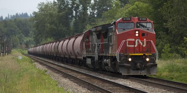 A CN train travels through Burnaby, B.C.