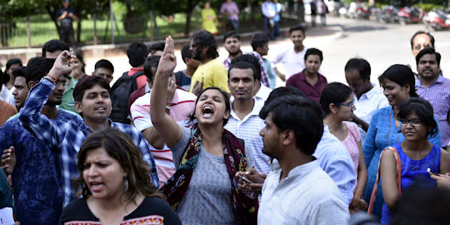 Students during a protest in JNU earlier this year.