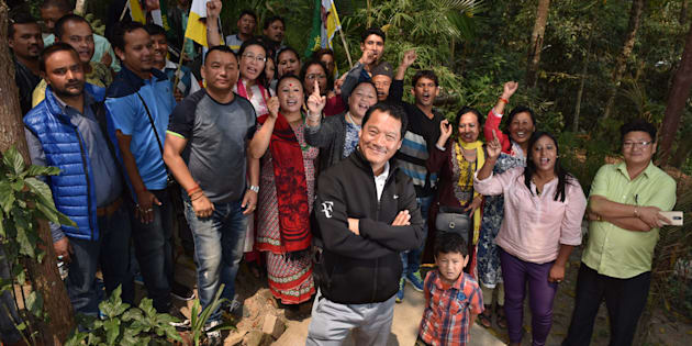 Bimal Gurung, supremo of Gorkha Janmukti Morcha and Chief Executive of Gorkhaland Territorial Administration, with GJM supporters at Kalimpong. (Photo By Indranil Bhoumik/Mint via Getty Images).
