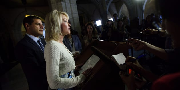 Conservative MPs Candice Bergen and Alain Rayes speak to reporters on Parliament Hill on Sept. 17, 2018.